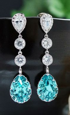 Light Turquoise Wedding Earrings Swarovski Crystal with Cubic Zirconia connectors