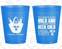 To Have and To Hold, Wedding Frosted Party Cups, Tropical Wedding, Beach Wedding, Blue Frosted Cups (438)