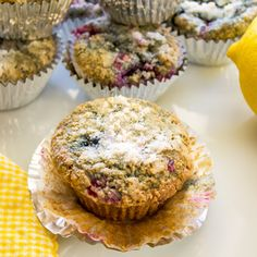 Mixed Berry Oat Muffins with Lemon Sugar