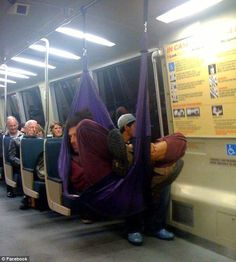 A true Californian: People have taken to Facebook to post photos of commuters- like this man in a hammock- who annoy them on the San Francisco BART subway