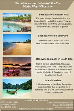 Plan A Honeymoon In Goa And Ride The Myriad Ways Of Romance.Best beaches in North Goa, Best beaches in South Goa, Honeymoon places in South Goa, Islands in Goa. Goa Travel, Travel And Tourism, Travel Destinations, Famous Beaches, Honeymoon Places, Hard Rock Hotel, Hotel S, Best Places To Travel, Travel Couple