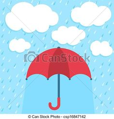 Vector - Vector illustration with umbrella and clouds - stock illustration, royalty free illustrations, stock clip art icon, stock clipart icons, logo, line art, EPS picture, pictures, graphic, graphics, drawing, drawings, vector image, artwork, EPS vector art