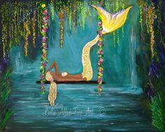 "Mermaid Art Print Mermaid Painting Wall Art Mermaid Theme Fantasy Art Print  Calm Calming ""Mermaids Tranquil Lagoon"" Leslie Allen Fine Art by LeslieAllenFineArt on Etsy"