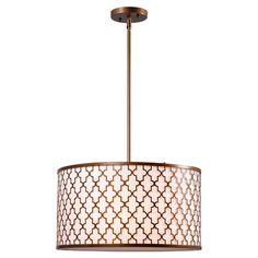 3-light pendant in antique gold with quatrefoil openwork design and fabric drum shade.   Product: PendantConstructi...