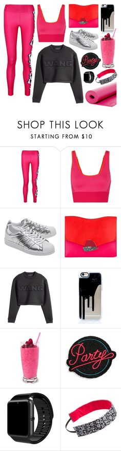 """""""Pink + Black"""" by cherieaustin on Polyvore featuring adidas, adidas Originals, Proenza Schouler, H&M, Marc Jacobs, Sweaty Bands and Marika"""