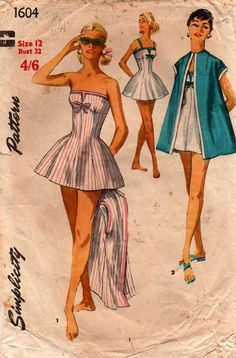 b99623a2a0 Simplicity 1604 Womens Retro Swimsuit & Beach Cover Up 50s Vintage Sewing  Pattern Size 12 Bust 32 inches