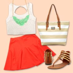 coral+white+mint accesories. #iNStyle #FashionBySIMAN #moda