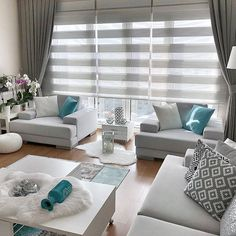 Large Window Treatments, Window Treatments Living Room, Living Room Windows, Large Windows, Blinds, Family Room, Interior Decorating, New Homes, Walls