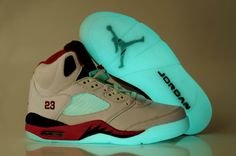 huge discount b7482 6a4dd Air Jordan 5 Men s Noctilucent Shoes White Red Black Nike Air Jordan 5,