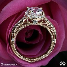 Verragio Beaded Shared-Prong Halo Diamond Engagement Ring