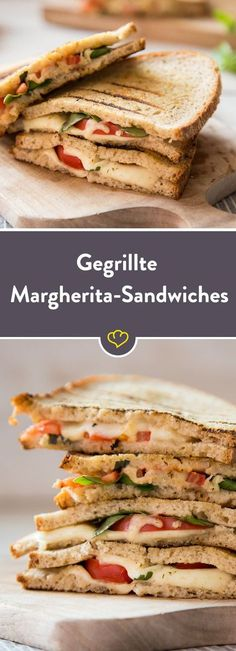 Und soll ich mir zum Abendessen nur ein Brot schmieren oder doch lieber eine Pizza Margherita machen? Zum Glück ist die Entscheidung am Ende des Tages gaaanz einfach: Ich nehme beides – kombiniert in einem schnell gegrillten Margherita-Sandwich mit schmelzendem Mozzarella, Tomaten, Basilikum und ein bisschen Knoblauch.