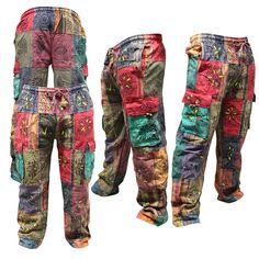 Men s Patchwork Cargo Trouser Wide Leg Hippie Festival Casual Combat Pants