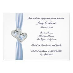 Custom Ice Blue Hearts Engagement Party Invitation  Personalize this invitation to make it your own. Change font style, color and size as well as background color and paper type by using the customize it button. #bridegroom