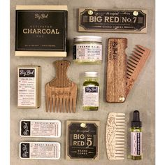 Serious beard gear for guys who are serious about their beards. Little shot with some of the new Big Red products #bigredbeardcombs #beardoil #beardbalm #mustachewax #beardcomb #beardsoap #beardstyle #bearded #beardedmen
