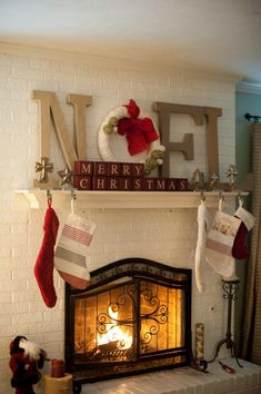 "My ""Noel"" theme mantel this year! Going for a vintage/red thing. Christmas Fireplace, Christmas Mantels, Noel Christmas, Country Christmas, All Things Christmas, Winter Christmas, Christmas Crafts, Modern Christmas, Christmas Blocks"