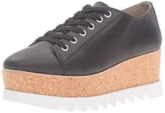 Steve Madden Womens Korrie Fashion Sneaker Black Leather 75 M US *** Click image for more details.
