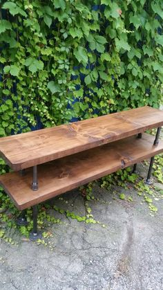 Industrial steel and wood TV stand rustic by PipeAndWoodDesigns