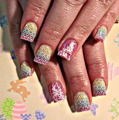 Easter bunny acrylic nails