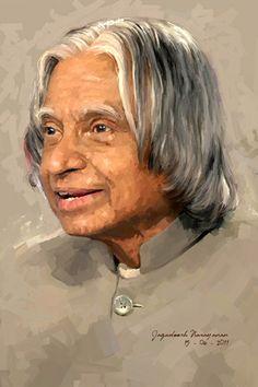 Portrait Acrylic, Portrait Art, Portraits, Freedom Fighters Of India, Kalam Quotes, Abdul Kalam, Portrait Sketches, Fantasy Paintings, Matte Painting