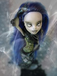 GHOST MERMAID repainted Sirena Von Boo Monster High Doll by NeverMorte on Etsy https://www.etsy.com/listing/245990182/ghost-mermaid-repainted-sirena-von-boo