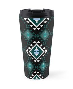 Art for travelers. Turquoise and Black Balkan Kilim Modern Global Travel Mug. High quality product designed by independent artist. Perfect gift for her.#ArtForTravelers