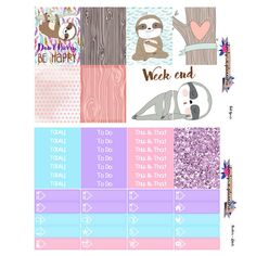 Dont hurry Be happy planner sticker kit sloth by lovelyplannerie