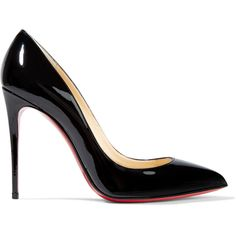 Christian Louboutin Pigalle Follies 100 patent-leather pumps (35.565 RUB) ❤ liked on Polyvore featuring shoes, pumps, christian louboutin, heels, patent leather shoes, christian louboutin pumps, black shoes, black patent leather pumps and black high heel shoes