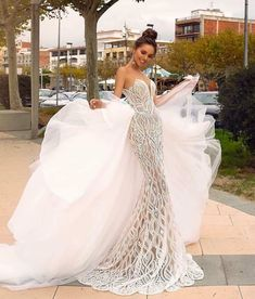 Plus Size Wedding Dress 2019 Elegant Lace Mermaid Sweetheart With Removable Train. Custom Sizing Available. Sexy Wedding Dresses, Princess Wedding Dresses, Wedding Gowns, Luxury Wedding Dress, Casual Bridal Dresses, Cinderella Wedding, Wedding Lace, Fall Wedding, Rustic Wedding