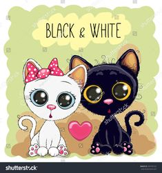 Two Cute Cartoon Cats Black and White