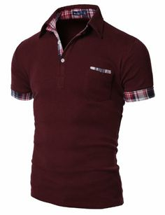 Shop Doublju_uk Mens Chest Pocket Short Sleeve Tee with Check Collars. Mens Polo T Shirts, Casual Shirts For Men, Men Casual, Polos Lacoste, Mens Attire, Well Dressed Men, Mens Clothing Styles, Shirt Style, Shirt Designs