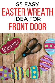 If you're decorating on a budget then you'll love this cheap and easy Easter wreath idea for front door. Decorate for easter with some grapevine eggs and ribbon and you're ready to go. Peel And Stick Tile, Stick On Tiles, Dollar Store Crafts, Dollar Stores, Old Baby Cribs, Thanksgiving Baby, Wedding With Kids, Easter Wreaths, Decorating On A Budget