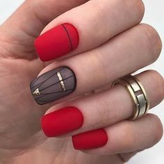 Red symbolizes enthusiasm and bolism. It is very suitable for red nail art design when celebrating festivals. Red nails are suitable for any shape and length of nails. Today, in this article, we will show you 69 Trendy Red Acrylic Nail Designs, whic Red Nail Art, Red Acrylic Nails, Matte Nails, Acrylic Nail Designs, Red Nails, Hair And Nails, Nail Art Designs, Red Manicure, Black Nails