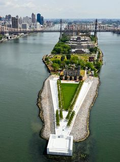 Franklin D. Roosevelt Four Freedoms Park is located on Roosevelt Island in New York City. Designed by architect Louis I. Kahn