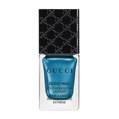 Gucci Prussian Blue, Bold High-Gloss Lacquer (€24) ❤ liked on Polyvore featuring beauty products, nail care, nail polish, makeup, nails, beauty, blue, filler, metallic and prussian blue