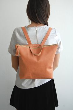 leather backpack, School leather bag, PEACH leather backpack, backpacks, womens bag, backpack bag, birthday gift, Made to order
