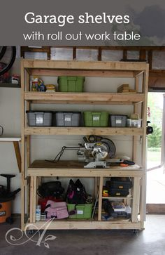 Garage shelves with roll out work bench