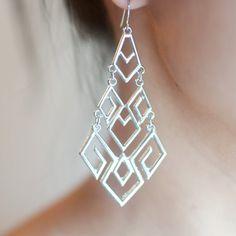 Metal Drop Earrings Sterling Earrings Silver by sanwaitsai on Etsy $19.99