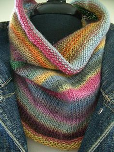 This colorful merino cowl and fingerless mitt set is quick and easy to knit. One piece construction. The mitts are knit from the fingers to the forearm. No leftover yarn!