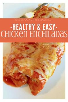Healthy and easy chicken enchiladas recipe that is 21 day fix approved! i love the ingredients, clean eating, simple, fast and yummy! for more recipes go to Healthy Dishes, Healthy Cooking, Healthy Dinner Recipes, Mexican Food Recipes, Healthy Eating, Cooking Recipes, Group Recipes, Healthy Options, Healthy Meals