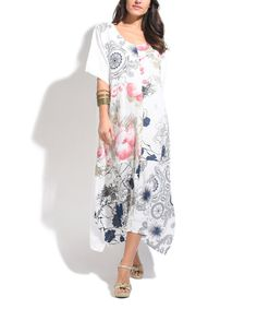 Another great find on #zulily! White Floral Linen Shift Maxi Dress - Plus Too #zulilyfinds