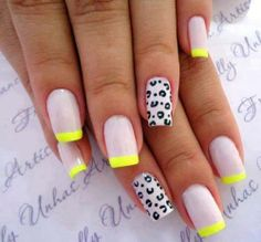 Translucent white nails with yellow tips and leopard decals French Acrylic Nails, French Nails, Cute Nails, Pretty Nails, Hair And Nails, My Nails, Leopard Nails, Crazy Nails, Silver Nails