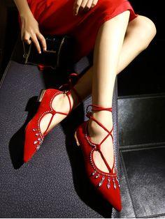 Flock Rhinestone Lace-Up Flat Shoes RED: Flats | ZAFUL