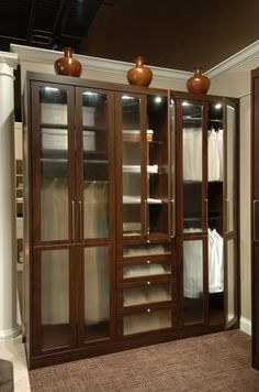 Dark wood and glass doors add a touch of sophistication to this build-in cabinet.