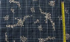 Embroidered Fabric Navy Blue Embroidered by CraftSuppliesDesk