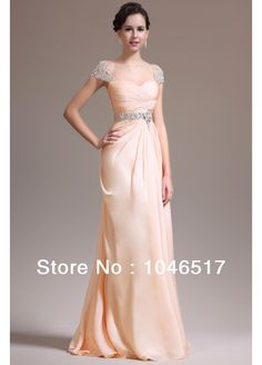 Free Shipping Champagne Long Chiffon Evening Dresses Beaded Cap Sleeves Prom Formal Gown 2013 New Sarah Bridal $5.00 - 179.00