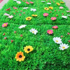 Artificial Turf Decoration Carpet with Plastic Lawn Grass Silk flowers Stars A73