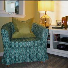 Stanford, Teal. Ikea Tullsta chair cover by Tonic Living.