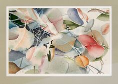 Abstract Anthurium Flower Watercolor Painting by Livingston Custom Frame 10x13 #Abstract