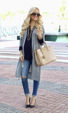 @roressclothes closet ideas #women fashion outfit #clothing style apparel distressed jeans, gray cover up Maternity Outfit
