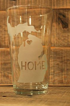 Set of 4 Michigan Etched Pint Glass w/Heart over your Hometown/Favorite Place/Wherever You'd Like!
